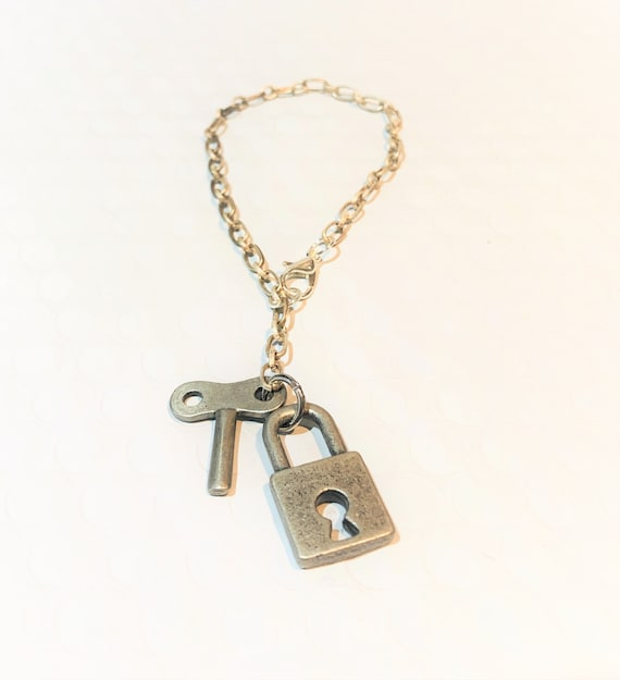 Gothic Steampunk Silver lock with crystal charm pendant necklace Locksmith