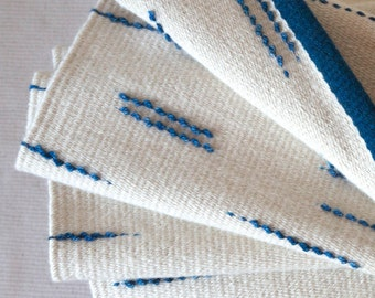 """Handwoven wool rug in white & blue with textured loop detail, """"Bump"""" rug - MADE TO ORDER"""