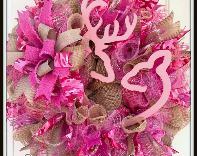 Buck and Doe Heart Wreath - Valentines Wreath - Hunter Wreath - Deer Wreath - Pink Camo Wreath