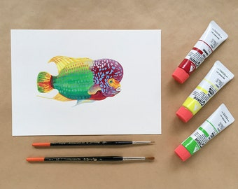 Original Painting - Flowerhorn Fish - A5 size - FREE SHIPPING