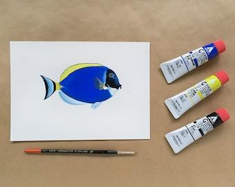 Original Painting - Powder Blue Tang Fish - A5 size - FREE SHIPPING
