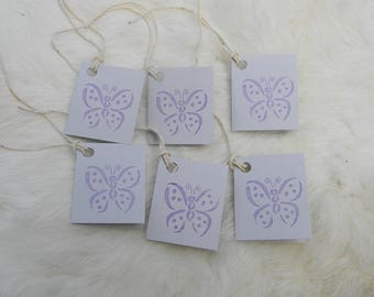 BUTTERFLY GIFT TAGS 30 Purple and Gray Butterfly Gift Tags Handmade tags