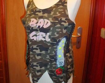 Shirt,Top,camouflage,cotten,stretsch,Punk,Hippi,Rockstyl,Skull,multicolor,Leo,Jeans, size S/M