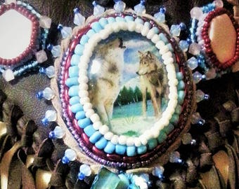 collar,choker,fringes,leather, wolves,pearls embroidered,native,western,country,ethnostyl,unique jewelery,leather jewelery,frans chain,
