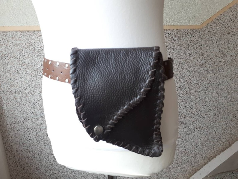 with tunnel Belt bag real leather