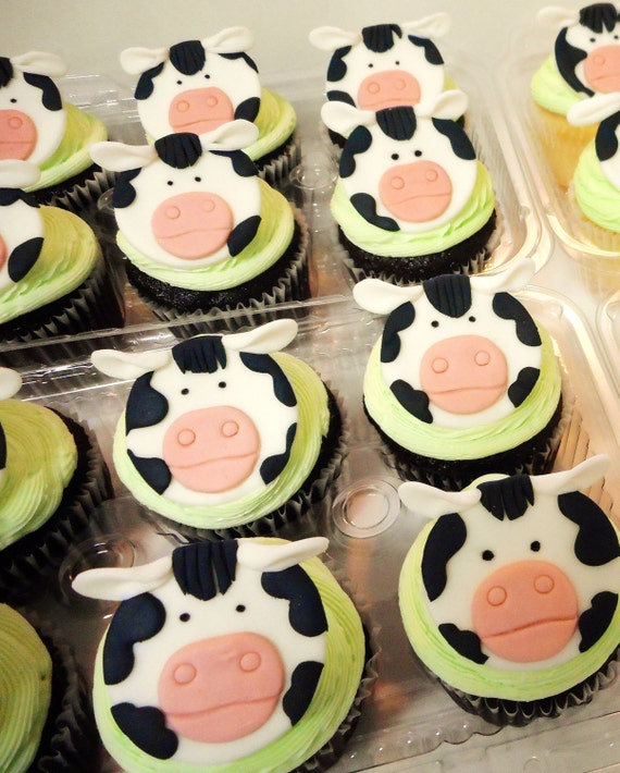 Black And White Cow Farm Animal Fondant Cupcake Toppers 12 Qty Etsy