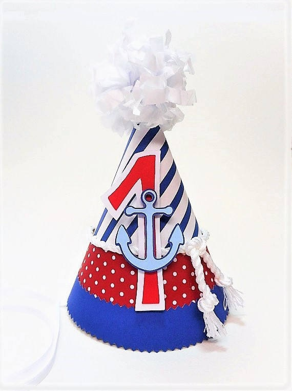 Nautical 1st Birthday Childrens Party Hat Red White And Blue