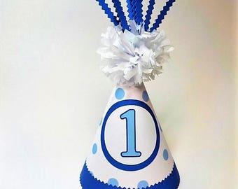 Blue and White Polka Dot 1st Birthday Childrens Party Hat Pom Pom