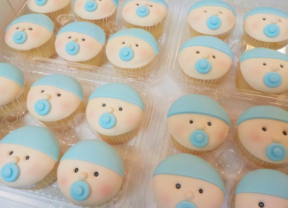 Baby Face Blue Fondant Cupcake Toppers Qty 12 New Baby Shower Celebration Beanie Pacifier Custom Color Option
