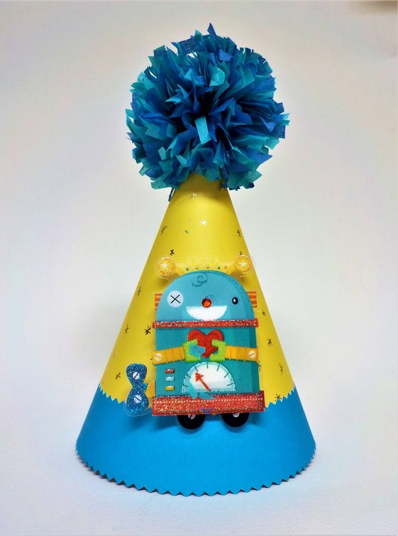 Robot Outer Space Childrens Birthday Blue Paper Party Hat 1st with Blue Pom Pom Topper Custom Age