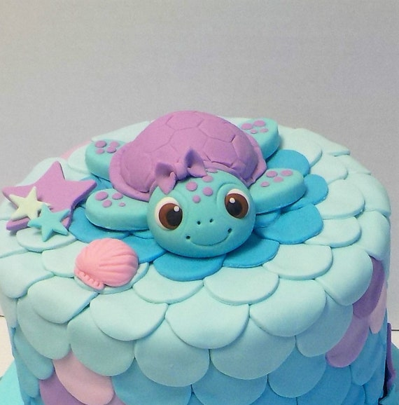 Fondant Sea Turtle Cake Topper 1st Birthday Baby Shower Flower Etsy