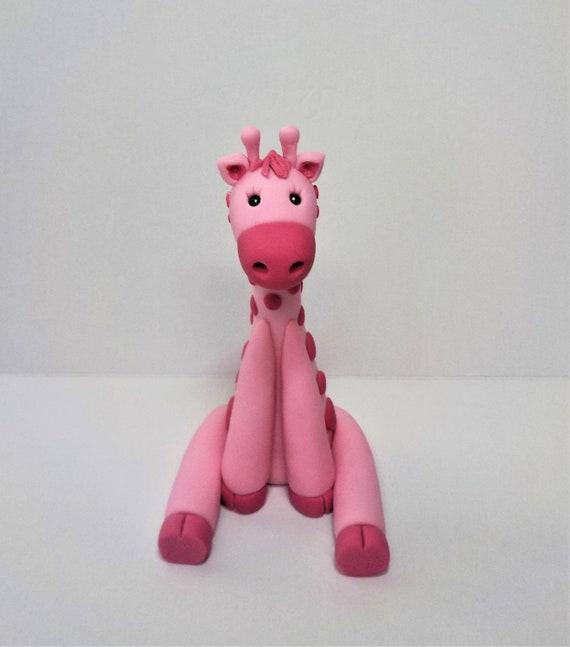 Fondant Giraffe Safari Animal Cake Topper Baby Shower 1st Etsy