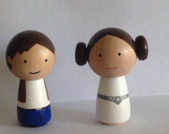 Star Wars Princess Leia Hans Solo Kokeshi Peg Doll Set