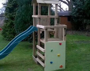 Climbing frame adventure with slide