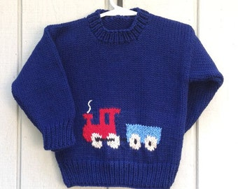 Kids train sweater - 4 years - Kids knit blue sweater - Navy sweater with train motif - Childrens train pullover