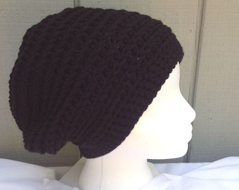 94a8bb0fc9a Womens black slouchy beanie - Wool mix black hat - Black crochet hat - Gift  for Her - Gift for teen girl