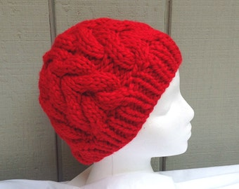 cce8e2950c8f7 Red cable handknit hat - Chunky red wool mix beanie - Hand knit red beanie  - Teens accessories - Gift for women