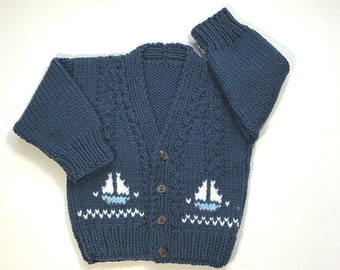 4362627cc Baby knit cardigan with sailboat motifs - 6 to 12 months - Hand knit baby  sweater - Baby boys sailboat sweater - Gift for baby boy