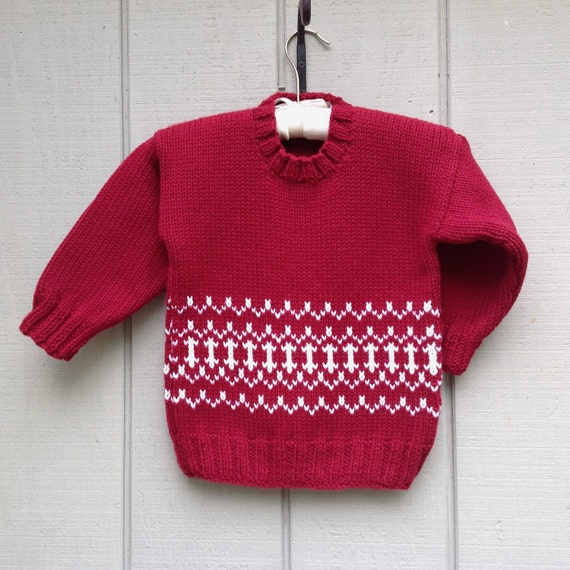 Childs Fair Isle red sweater , 5 years , Boys hand knit sweater , Girls red  sweater , Kids holiday sweater , Unisex red pullover