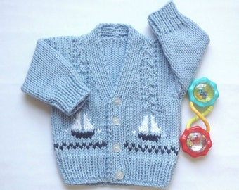 Baby boy cardigan - 0 to 6 months boy - Baby sweater with sailboats - New baby gift - Infant knits - Baby shower gift