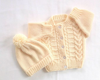 Baby sweater set - 6 to 12 months - Baby cardigan and hat - Baby hand knit sweater and hat - Infant yellow outfit