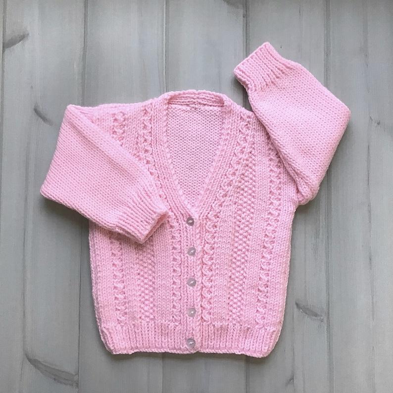 Girls knit pink cardigan  2 to 3 years  Girls pink sweater  image 1