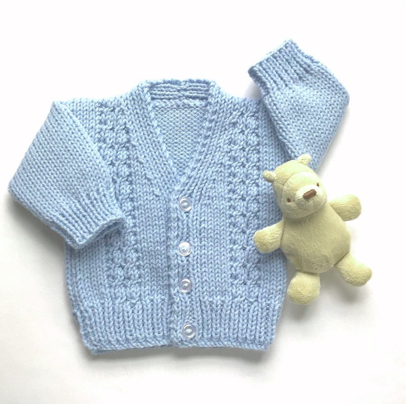 f981f3e16 Baby hand knit cardigan 6 to 12 months Baby boy blue | Etsy