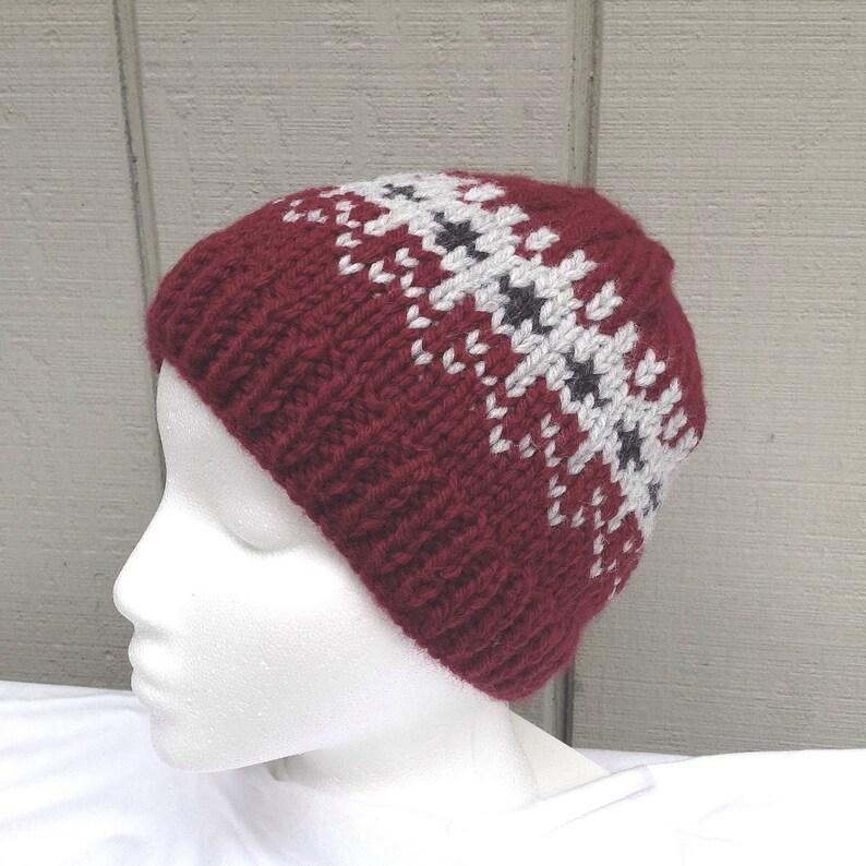 3ff030d5caf Maroon hand knit beanie Fair Isle hat Knit wool mix beanie