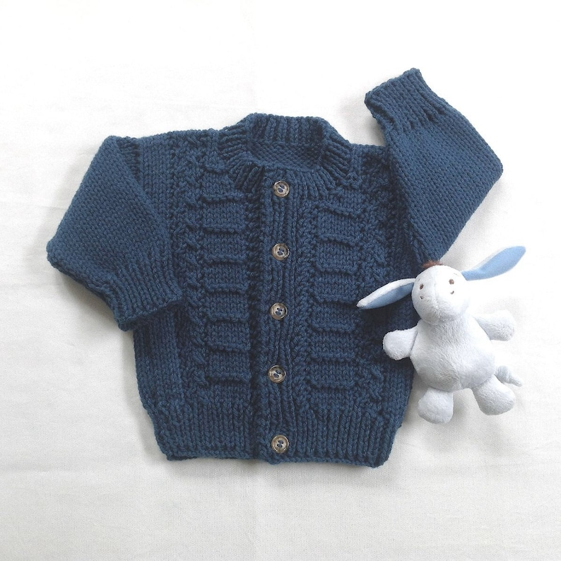 f70bf578433 Baby navy cardigan 6 to 12 months Navy blue hand knit