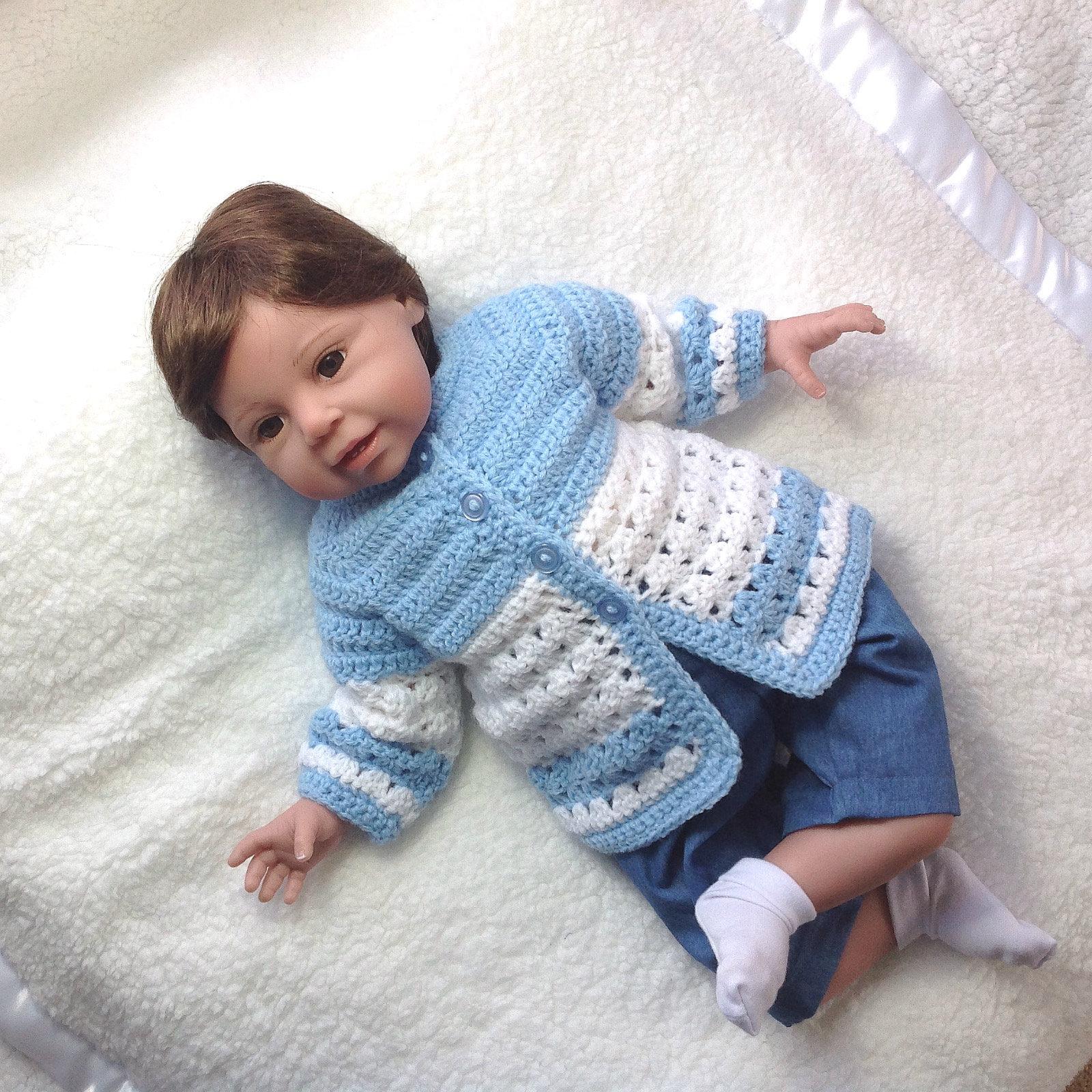90e08b924 Ganchillo bebé azul abrigo-0 a 3 meses-Baby Boy abrigo-Baby