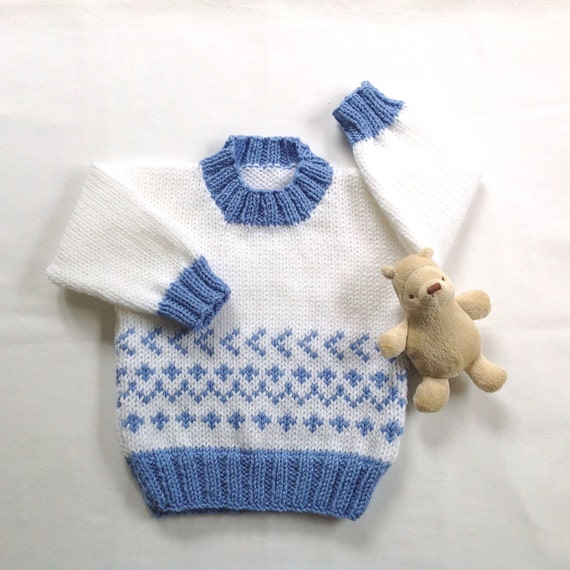 Fair Isle Baby Sweater 6 To 12 Months Baby Shower Gift Etsy
