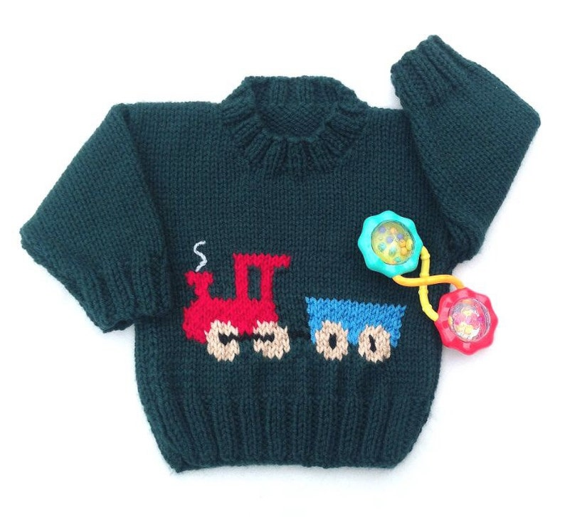 340bc27bf Train motif sweater 6 to 12 months Hand knit train jumper