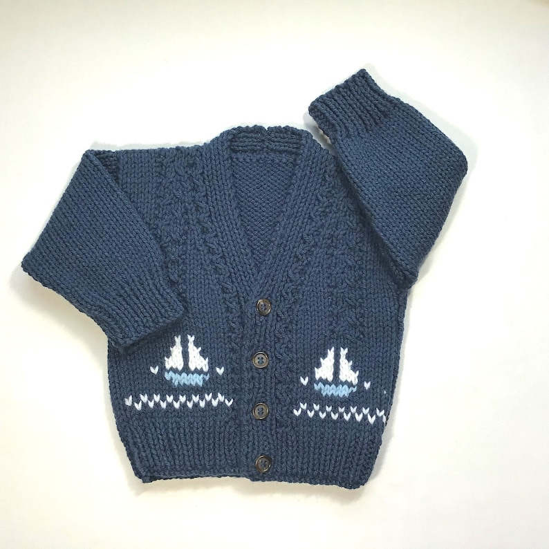 571020070 Baby knit cardigan with sailboat motifs 6 to 12 months