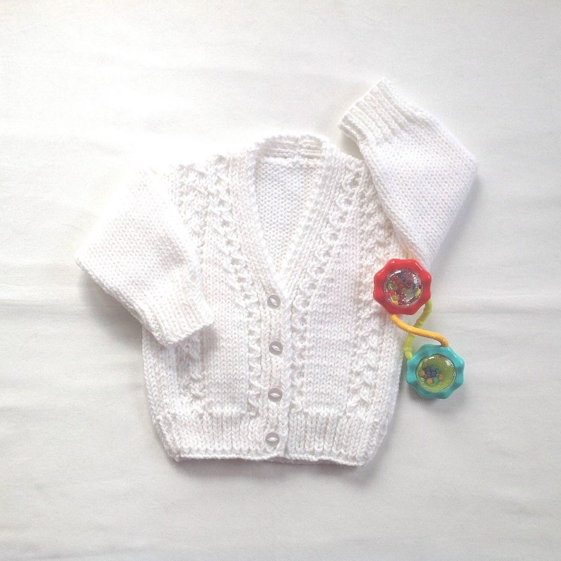 a90d75d3b5a0 Baby white cardigan 0 to 6 months Infant hand knit sweater
