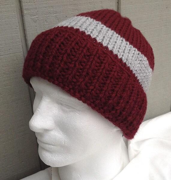 682716e4197c2 Mens maroon wool mix hat Mens handknit beanie Knitted Mens