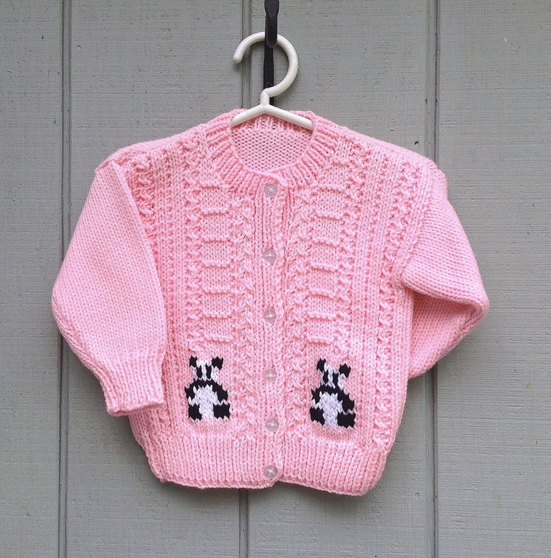 c63aefcbb Pink Panda cardigan 2 to 3 years girl Girls hand knit