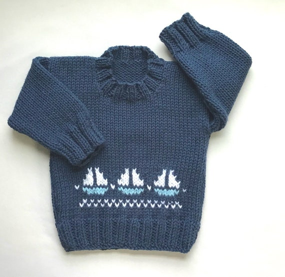 6f6c2fbd2 Baby boy sweater with sailboats 6 to 12 months boy Baby