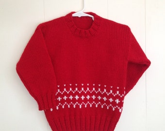 Childs red knit sweater - 4 years - Girls Fair Isle red sweater - Boys red handknitted pullover - Kids holiday sweater