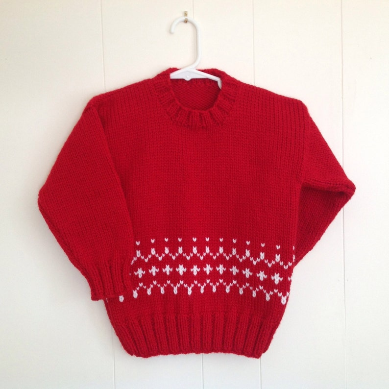 Childs red knit sweater  4 years  Girls Fair Isle red image 1