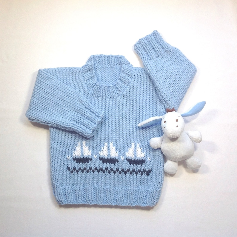 a86153c70 Baby boy sweater 6 to 12 months Infant blue hand knit