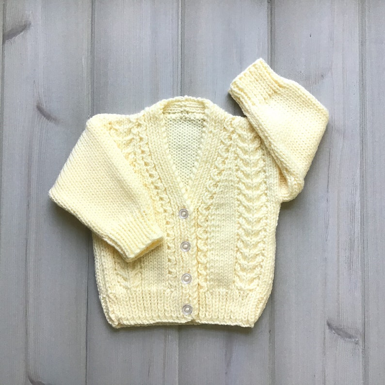 Knitted yellow baby cardigan  6 to 12  months  Yellow baby image 1