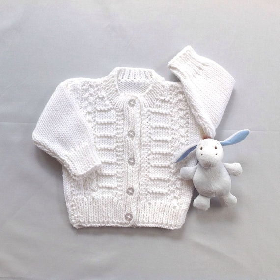 White Baby Cardigan 6 To 12 Months Infant Hand Knit Etsy