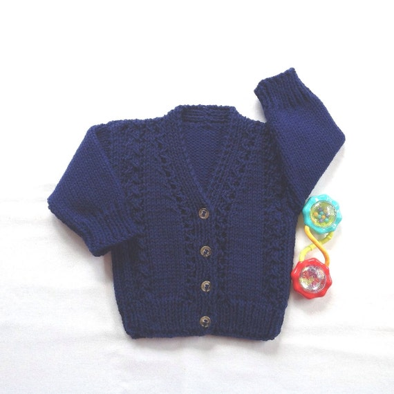 Baby navy cardigan 6 to 12 months Navy blue hand knit infant sweater Infant Knitwear Baby knit cardigan