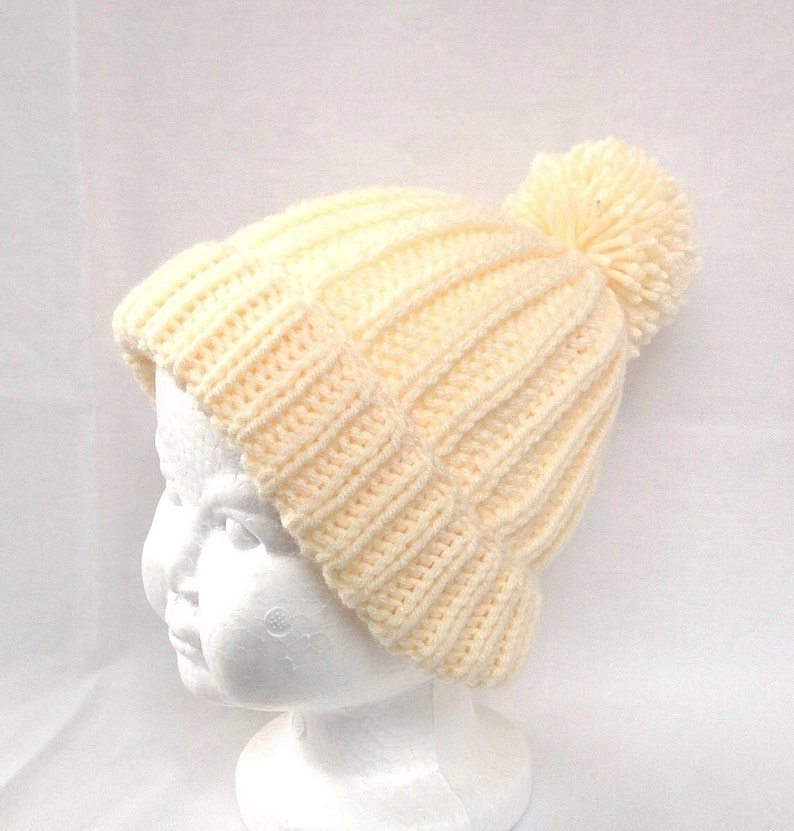 385442527c680a Toddler Pom Pom hat Kids yellow handknit beanie Kids   Etsy