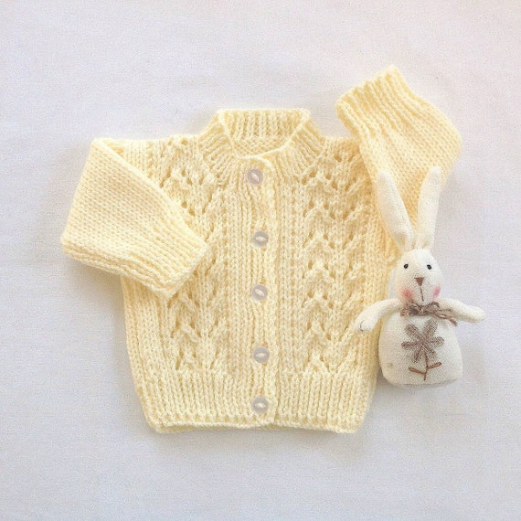 Baby Hand Knit Sweater Baby Yellow Cardigan 0 To 6 Months Etsy