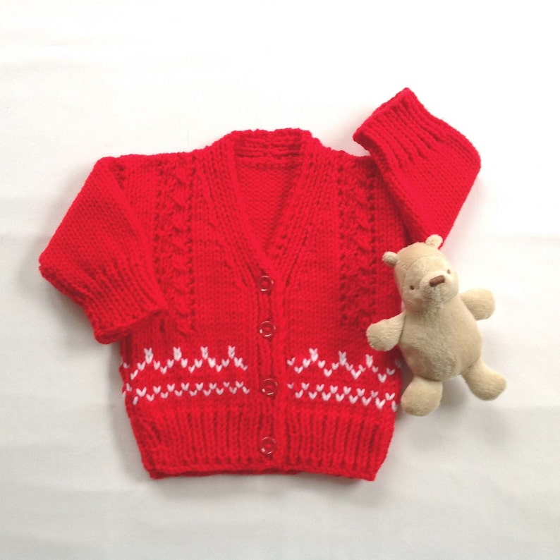 11911ae030 Baby hand knit red sweater 0 to 6 months Baby shower gift | Etsy