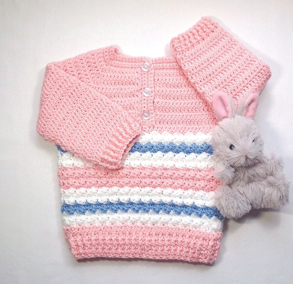 b07f7d99b Infant girl pink sweater 6 to 12 months Baby girl crochet