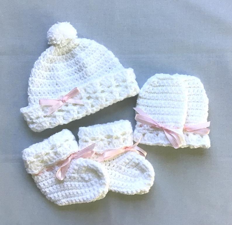 cf8117b34bf Baby girl white crochet set Infant hat booties mittens set