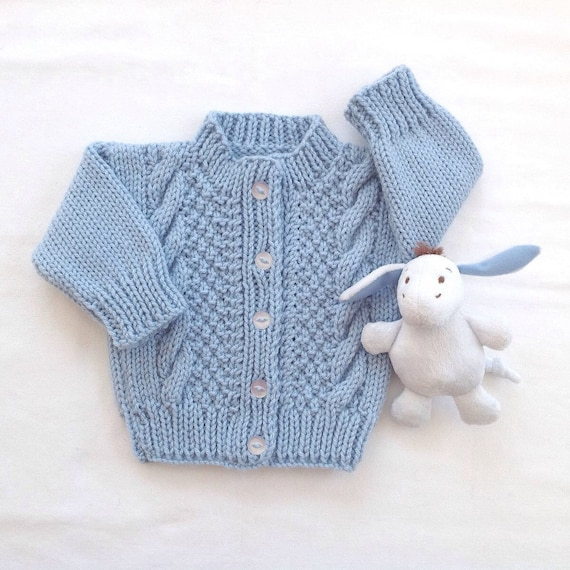 Blue Hand Knit Baby Sweater 6 To 12 Months Infant Etsy
