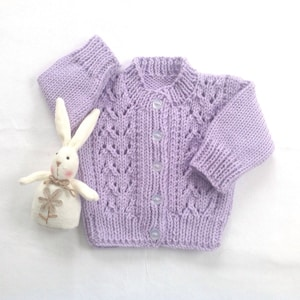 baby girl clothes Hand knit baby cardigan baby knitwear 6-12 months grape purple knitted v neck baby sweater gift for baby girl